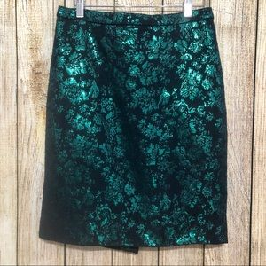 J Crew  Pencil Skirt Metallic Jacquard Green Black